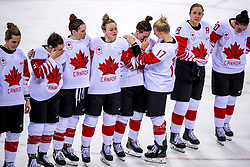 22-02-2018 KOR: Olympic Games day 13, PyeongChang<br /> Final Ice Hockey Canada - USA 2-3 / Teleurstelling team Canada Lauriane Rougeau #5 of Canada, Rebecca Johnston #6 of Canada, Laura Stacey #7 of Canada, Laura Fortino #8 of Canada