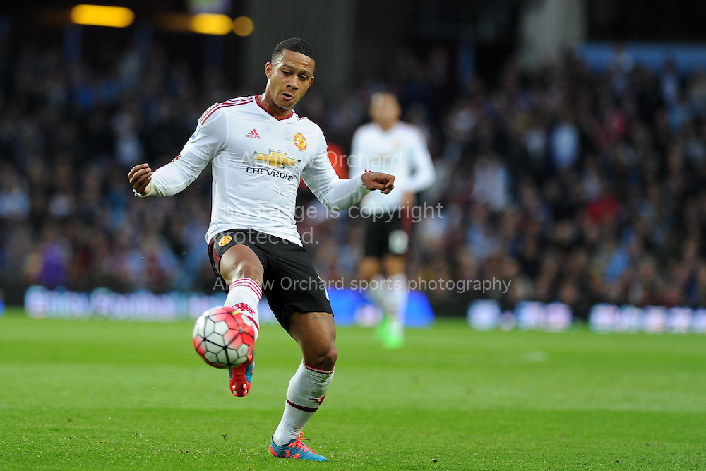 Memphis Depay of Manchester Utd in action. Barclays Premier League match, Aston Villa v Manchester Utd at Villa Park in Birmingham, Midlands on Friday 14th August  2015.<br /> pic by Andrew Orchard, Andrew Orchard sports photography.
