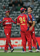 Lions players celebrates during match 18 of the Airtel CLT20 held between the Lions and Royal Challengers Bangalore at The Wanderers Stadium in Johannesburg on the 19 September 2010..Photo by: Abbey Sebetha/SPORTZPICS/CLT20