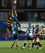 Carmarthen Quins' winger Dale Ford competes for a high ball.<br /> <br /> Cardiff Arms Park, Cardiff, Wales, UK - Saturday 19th October, 2019.<br /> <br /> Images from the Indigo Welsh Premiership rugby match between Cardiff RFC and Carmarthen Quins RFC. <br /> <br /> Photographer Dan Minto<br /> <br /> mail@danmintophotography.com <br /> www.danmintophotography.com