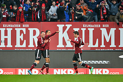 25.01.2014, easyCredit Stadion, Nuernberg, GER, 1. FBL, 1. FC Nuernberg vs TSG 1899 Hoffenheim, 18. Runde, im Bild Timothy Chandler (1 FC Nuernberg / Mitte) bejubelt sein Tor zum 1:0 mit Josip Drmic (1 FC Nuernberg / links), Daniel Ginczek (1 FC Nuernberg / rechts) // during the German Bundesliga 18th round match between 1. FC Nuernberg and TSG 1899 Hoffenheim at the easyCredit Stadion in Nuernberg, Germany on 2014/01/25. EXPA Pictures © 2014, PhotoCredit: EXPA/ Eibner-Pressefoto/ Merz<br /> <br /> *****ATTENTION - OUT of GER*****