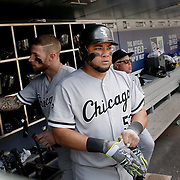 NEW YORK, NEW YORK - June 01:  Melky Cabrera #53 of the Chicago White Sox in the dugout preparing to bat during the Chicago White Sox  Vs New York Mets regular season MLB game at Citi Field on June 01, 2016 in New York City. (Photo by Tim Clayton/Corbis via Getty Images)