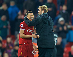 LIVERPOOL, ENGLAND - Boxing Day, Tuesday, December 26, 2017: Liverpool's manager Jürgen Klopp embraces Trent Alexander-Arnold after the 5-0 victory during the FA Premier League match between Liverpool and Swansea City at Anfield. (Pic by David Rawcliffe/Propaganda)