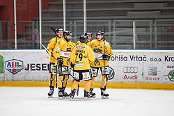 HC Pustertal celebrating first goal of the match during Alps Hockey League match between HC Pustertal and HDD SIJ Jesenice, on October 3, 2019 in Ice Arena Podmezakla, Jesenice, Slovenia. Photo by Peter Podobnik / Sportida