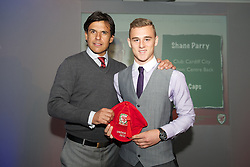 CARDIFF, WALES - Saturday, May 11, 2013: Shane Parry is presented with his U16's cap by Wales national team manager Chris Coleman at the FAW Trust Under-16's cap presentation. (Pic by David Rawcliffe/Propaganda)