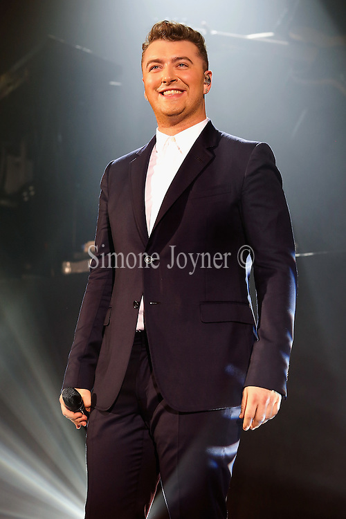 Singer Sam Smith performs live on stage at Hammersmith Apollo on November 6, 2014 in London, England.  (Photo by Simone Joyner
