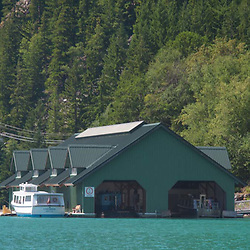 Seattle City Light Boathouse on Diablo Lake, North Cascades National Park, Washington, US