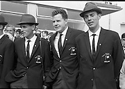 Members of the Irish Olympic team leaves for Amsterdam on the first stage of their journey to Tokyo.  Pictures shows Tom O'Riordan, 5000 metres; John Lawlor, hammer and Basil Clifford, 1500 metres..04.10.1964