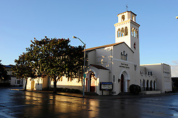 Winter sunrise at the First United Methodist Church in Salinas, California. Volunteers from the community provide meals, counseling resources and occasional shelter to many who have nowhere else to go. Basic rules, a generous spirit and a firm hand keep the program alive with minimal outside funding, creating real alternatives for a visible population in need.