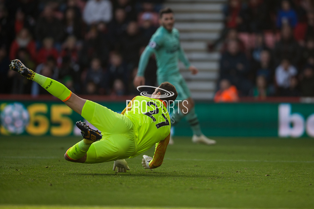 Asmir Begovic (GK) (Bournemouth) attempts to save what became an own goal during the Premier League match between Bournemouth and Arsenal at the Vitality Stadium, Bournemouth, England on 25 November 2018.