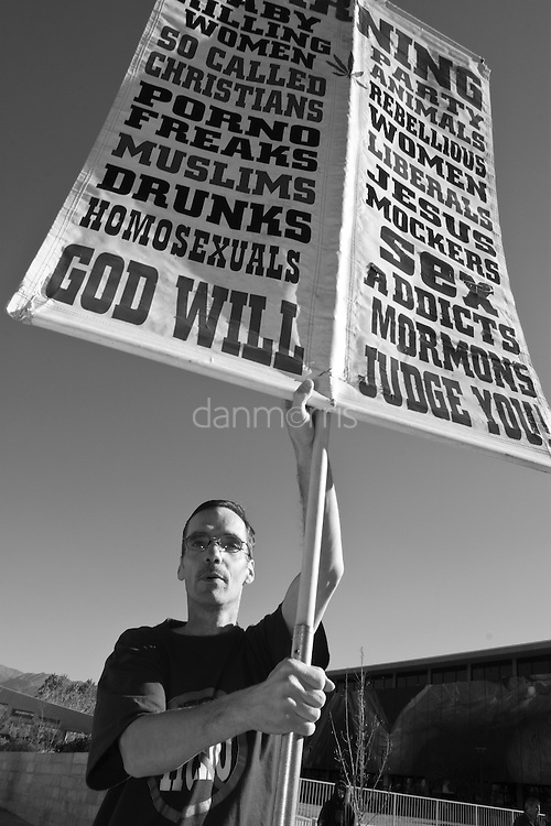 Anti Gay - Rights Protester holds sign at a rally in Salt Lake City protesting the California Prop 8 Decision, Jan22, 2009