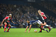 West Bromwich Albion striker Saloman Rondon (9) is fouled by Southampton midfielder Oriol Romeu (14) during the Premier League match between West Bromwich Albion and Southampton at The Hawthorns, West Bromwich, England on 3 February 2018. Picture by Dennis Goodwin.