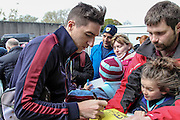 Stephen Ward (Burnley) signs autographs before the Sky Bet Championship match between Burnley and Queens Park Rangers at Turf Moor, Burnley, England on 2 May 2016. Photo by Mark P Doherty.