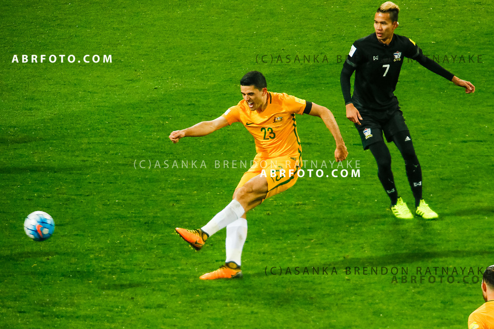MELBOURNE, AUSTRALIA - SEPTEMBER 5 : Tomas Rogic of the Australia Socceroos has a shot on goal during the Stage 3 Group World Cup Football Qualifiers between Australia Vs Thailand at the Melbourne Rectangular Stadium, Melbourne, Australia 5 September 2017.