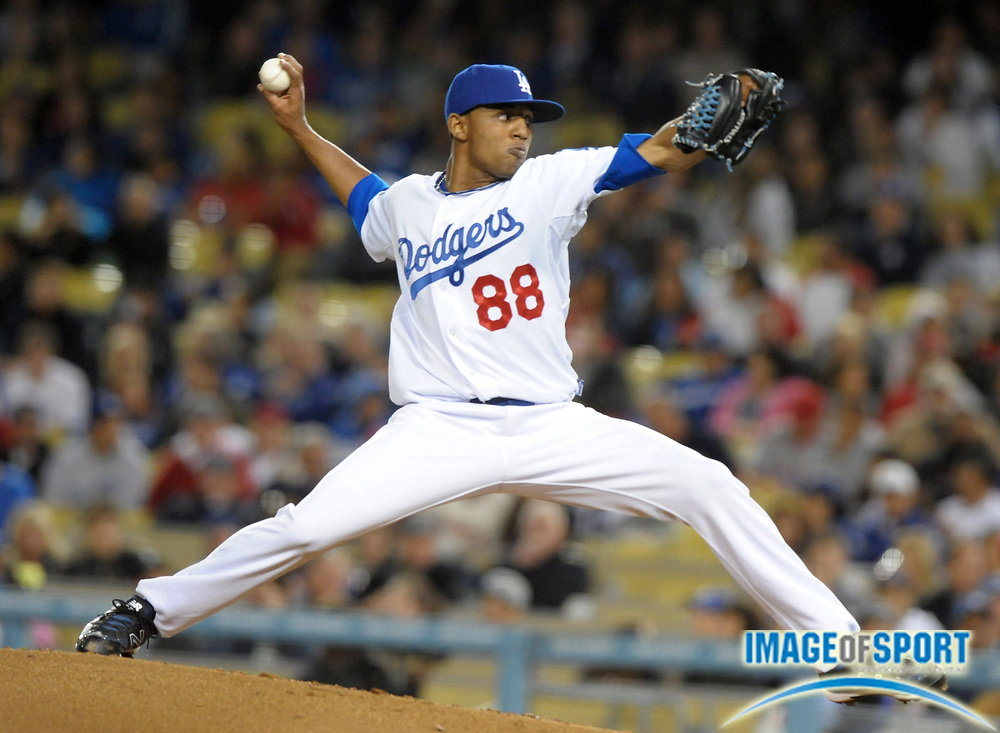 Apr 3, 2012; Los Angeles, CA, USA; Los Angeles Dodgers reliever Angel Sanchez (88) delivers a pitch against the Los Angeles Angels at Dodger Stadium.
