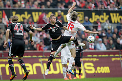 05.05.2012, Rhein Energie Stadion, Koeln, GER, 1. FC Koeln vs FC Bayern Muenchen, 34. Spieltag, im Bild Duell Bastian SCHWEINSTEIGER (FC Bayern Muenchen - 31) gegen Martin LANIG (1.FC Koeln #13) // during the German Bundesliga Match, 34th Round between 1. FC Cologne and Bayern Munich at the Rhein Energie Stadium, Cologne, Germany on 2012/05/05. EXPA Pictures © 2012, PhotoCredit: EXPA/ Eibner/ Gerry Schmit..***** ATTENTION - OUT OF GER *****