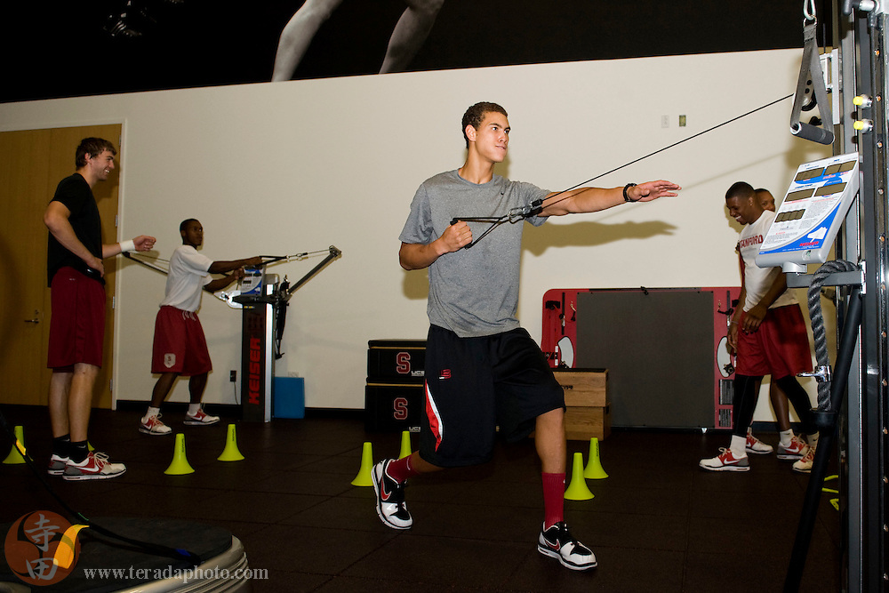 July 9, 2010; Stanford, CA, USA; Stanford Cardinal Sports Performance morning workout at the Arrillaga Gymnasium & Weight Room. Pictured: Stanford Mens Basketball Dwight Powell. Mandatory Credit: Kyle Terada-Terada Photo