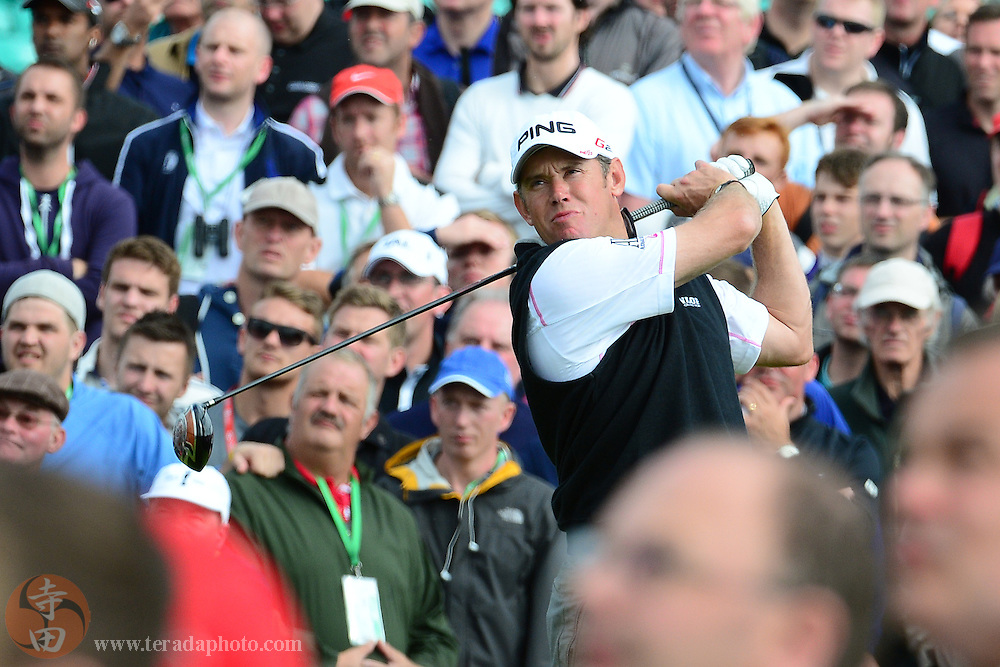 July 20, 2012; St. Annes, ENGLAND; Lee Westwood tees off on the 14th hole during the second round of the 2012 British Open Championship at Royal Lytham & St. Annes Golf Club.