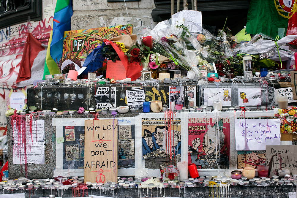 16  November  2015 – Paris, France Following the November 13th terrorist attacks, place de la republique, (Republic Square) has become a makeshift memorial site for the victims.  In a series of acts of violence, some 129 people were killing in shootings and suicide bombing. ISIL or islamic state claimed the responsibility.