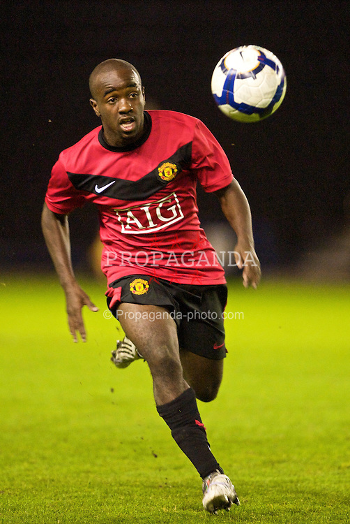 WIDNES, ENGLAND - Tuesday, October 6, 2009: Manchester United's Febian Brandy in action against Everton during the FA Premiership Reserves League (Northern Division) match at the Halton Stadium. (Pic by David Rawcliffe/Propaganda)