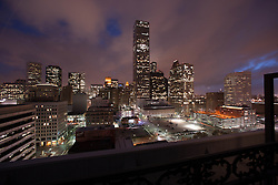 Downtown Houston, Texas skyline with buildings lit at night.