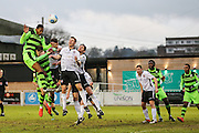 Forest Green Rovers Ethan Pinnock(16) goes to head the ball from a corner during the Vanarama National League match between Bromley FC and Forest Green Rovers at Hayes Lane, Bromley, United Kingdom on 7 January 2017. Photo by Shane Healey.