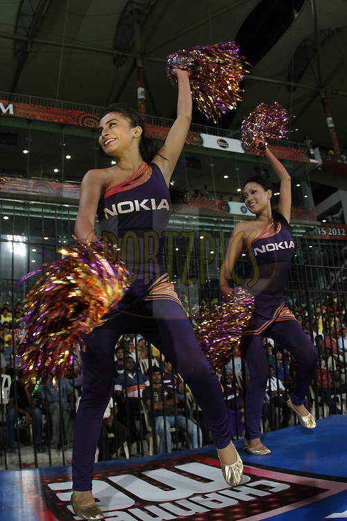 Nokia KKR dancers during the final of the Indian Premier League ( IPL ) 2012  between The Kolkata Knight Riders and the Chennai Superkings held at the M. A. Chidambaram Stadium, Chennai on the 27th May 2012..Photo by Jacques Rossouw/IPL/SPORTZPICS