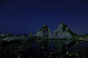 Sado Island, August 21 2010 - Meoto iwa rock formation by night.
