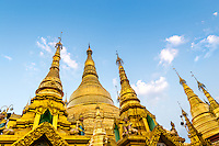 YANGON, MYANMAR - CIRCA DECEMBER 2013: Architectural detail of the Shwedagon Pagoda in Yangon
