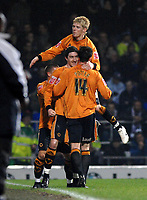 Photo: Ashley Pickering.<br /> Ipswich Town v Wolverhampton Wanderers. Coca Cola Championship. 20/02/2007.<br /> Stephen Ward (C) of Wolves celebrates his goal (0-1)
