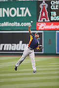 ANAHEIM, CA - APRIL 14:  Justin Maxwell #44 of the Houston Astros plays catch during batting practice before the game against the Los Angeles Angels of Anaheim on Sunday, April 14, 2013 at Angel Stadium in Anaheim, California. The Angels won the game 4-1. (Photo by Paul Spinelli/MLB Photos via Getty Images) *** Local Caption *** Justin Maxwell