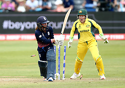 Danielle Wyatt of England is bowled by Jess Jonassen of Australia Women - Mandatory by-line: Robbie Stephenson/JMP - 09/07/2017 - CRICKET - Bristol County Ground - Bristol, United Kingdom - England v Australia - ICC Women's World Cup match 19