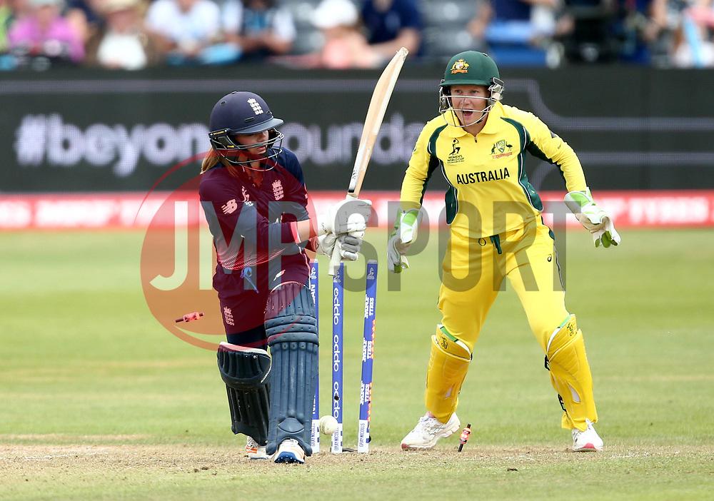Danielle Wyatt of England is bowled by Jess Jonassen of Australia Women - Mandatory by-line: Robbie Stephenson/JMP - 09/07/2017 - CRICKET - Bristol County Ground - Bristol, United Kingdom - England v Australia - ICC Women's World Cup match 19