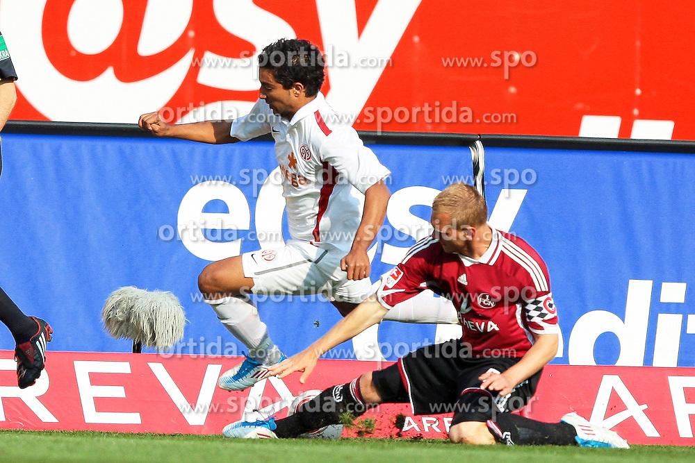 24.04.2011, easy Credit Stadion, Nuernberg, GER, 1.FBL, 1. FC Nuernberg / Nürnberg vs 1. FSV Mainz 05, im Bild:.Andreas Wolf (Nuernberg #5) gg Sami Allagui (Mainz #9).EXPA Pictures © 2011, PhotoCredit: EXPA/ nph/  Will       ****** out of GER / SWE / CRO  / BEL ******
