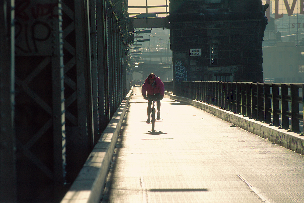 Queensboro Bridge, Manhattan, Queens,  New York City, New York, bicycle rider