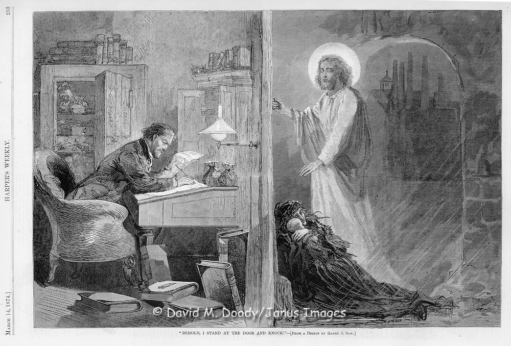 "Vintage Illustration: ""Behold, I stand at the door and knock"" Jesus and poor woman with kids outside in the cold of a rich man's office door where he sits counting his money in comfort. 1874"