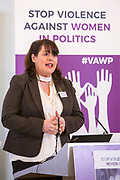 Michelle Gildernew (MP, Sinn Fein) Session 7: THE ROLE AND RESPONSIBILITIES OF POLITICAL PARTIES IN TACKLING VIOLENCE AGAINST POLITICALLY ACTIVE WOMEN 'Violence Against Women in Politics' Conference, organised by all the UK political parties in partnership with the Westminster Foundation for Democracy, 19th and 20th of March 2018, central London, UK.  (Please credit any image use with: © Andy Aitchison / WFD