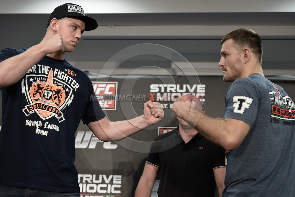 "NOTTINGHAM, ENGLAND, SEPTEMBER 27, 2012: Stefan Struve and Stipe Miocic face off during the pre-fight press conference for ""UFC on Fuel TV: Struve vs. Miocic"" inside the Hilton Hotel in Nottingham , United Kingdom on Thursday, Septermber 27, 2012"
