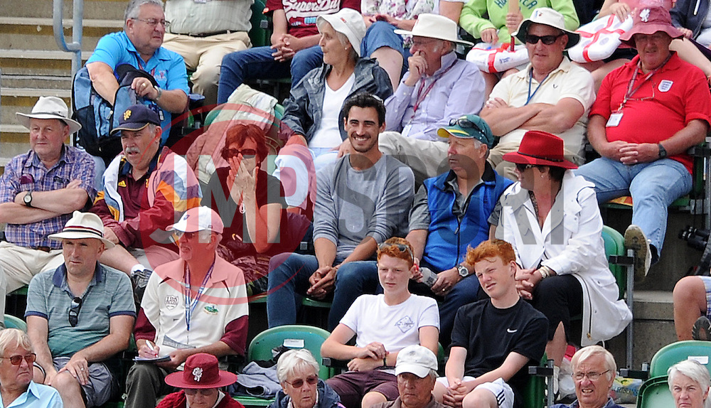 Australia's Men's International Mitchell Starc(centre) looks on from the stands at Taunton as girlfriend and Australia Women's Ellyse Healy keeps wicket. - Photo mandatory by-line: Harry Trump/JMP - Mobile: 07966 386802 - 21/07/15 - SPORT - CRICKET - Women's Ashes - Royal London ODI - England Women v Australia Women - The County Ground, Taunton, England.