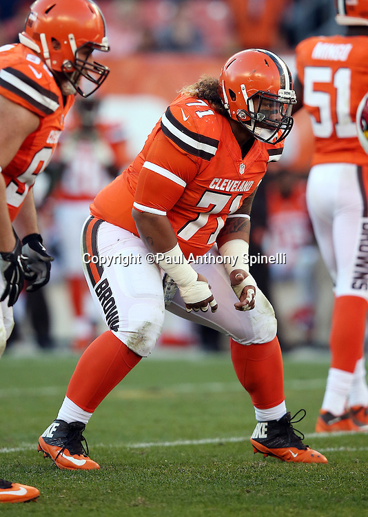 Cleveland Browns nose tackle Danny Shelton (71) gets set for the snap at the line of scrimmage during the 2015 week 8 regular season NFL football game against the Arizona Cardinals on Sunday, Nov. 1, 2015 in Cleveland. The Cardinals won the game 34-20. (©Paul Anthony Spinelli)