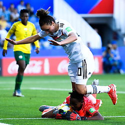 Andile Dlamini of South Africa and Lina Magull of Germany during the Women's World Cup match between Germany and South Africa at Stade de la Mosson on June 17, 2019 in Montpellier, France. (Photo by Alexandre Dimou/Icon Sport)