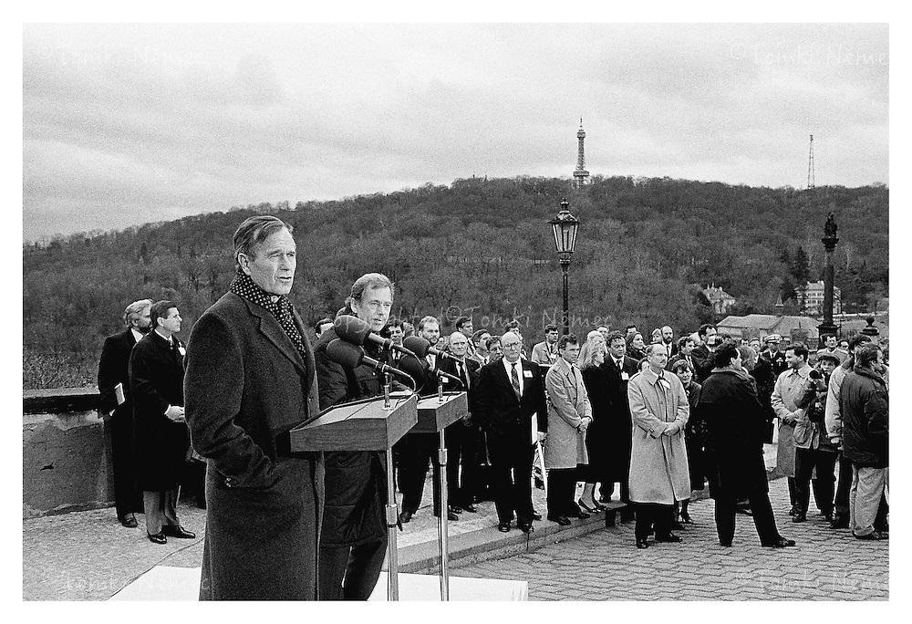 President George Herbert Walker Bush/USA in Prague, Czechoslovakia,1990