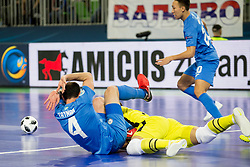 Taynan of Kazakhstan and Miodrag Aksentijevic of Serbia during futsal quarter-final match between National teams of Kazakhstan and Serbia at Day 7 of UEFA Futsal EURO 2018, on February 5, 2018 in Arena Stozice, Ljubljana, Slovenia. Photo by Urban Urbanc / Sportida