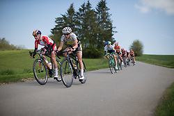 Amalie Dideriksen (DEN) of Boels-Dolmans Cycling Team tackles a speedy downhill section in the first short lap during the second, 110.1km road race stage of Elsy Jacobs - a stage race in Luxembourg in Garnich on May 1, 2016.