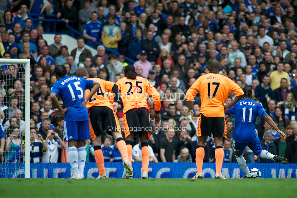 LONDON, ENGLAND - Sunday, May 9, 2010: Chelsea's Didier Drogba scores his 2nd goal from the penalty spot to make it 6-0 against Wigan Athletic during the final Premiership match of the season at Stamford Bridge. (Pic by Gareth Davies/Propaganda)