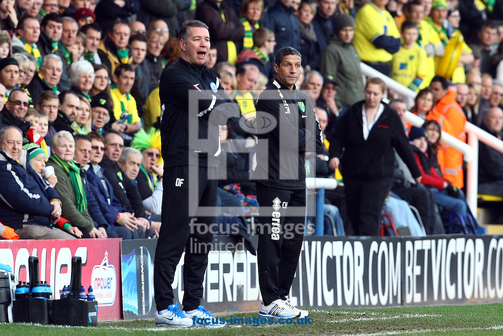 Picture by Paul Chesterton/Focus Images Ltd +44 7904 640267.05/01/2013.Peterborough Manager Darren Ferguson and Norwich Manager Chris Hughton during the The FA Cup match at London Road, Peterborough.