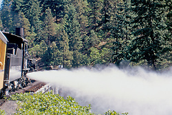 June 2000:  Images from the Durango and Silverton Narrow Gauge Railway which runs along the Animas River between Durango and Silverton Colorado.  The engines are all restored working steam engines and the cars are refurbished from period cars.  The railway is often used in old westerns to depict the rail life from the days of the old west.<br /> <br /> Scanned from a transparency.  Artifacts may exist.