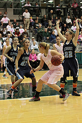 08 February 2014:  Lexi Baltes  & Hannah Lipman & Karen Senette during an NCAA women's division 3 CCIW basketball game between the Elmhurst Bluejays and the Illinois Wesleyan Titans in Shirk Center, Bloomington IL