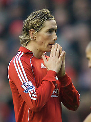 LIVERPOOL, ENGLAND - Sunday, December 16, 2007: Liverpool's Fernando Torres looks dejected as his side lose 1-0 to Manchester United during the Premiership match at Anfield. (Photo by David Rawcliffe/Propaganda)