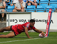 Derrell Olpherts of Salford Red Devils scores the try against Halifax RLFC during the Super 8s The Qualifiers match at Mbi Shay Stadium, Halifax<br /> Picture by Stephen Gaunt/Focus Images Ltd +447904 833202<br /> 02/09/2018